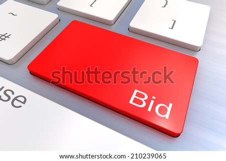 A Colourful 3d Rendered Illustration showing Bid on a Computer Keyboard - stock photo