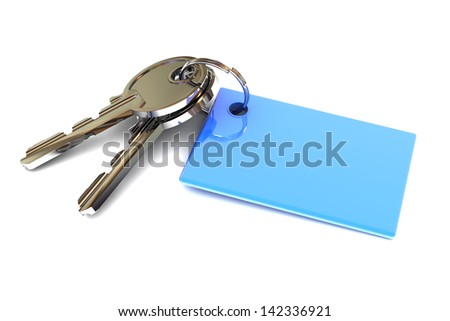 A Colourful 3d Rendered Keys with a Blank Blue Keyring - stock photo