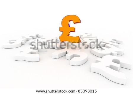 A Colourful 3d Rendered Pound Success Concept Illustration - stock photo