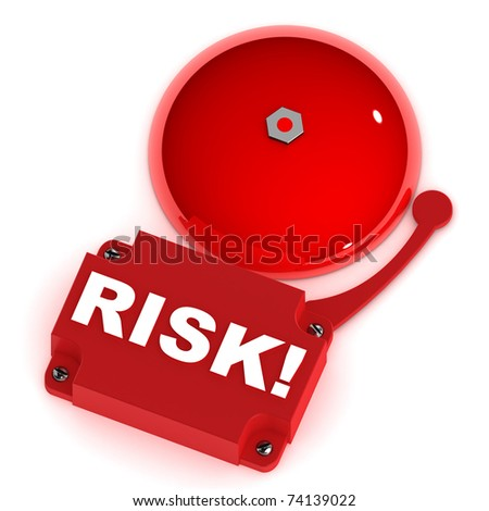 A Colourful 3d Rendered Risk Alarm Bell - stock photo