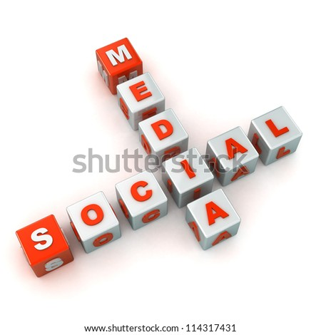 A Colourful 3d Rendered Social Media Crossword Illustration - stock photo