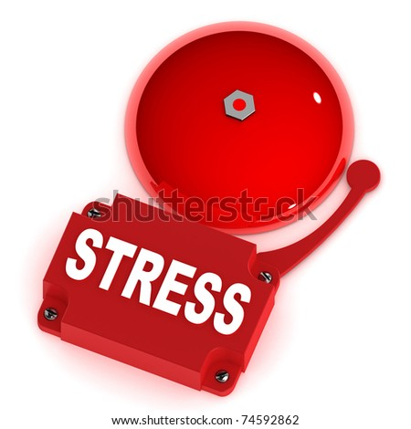 A Colourful 3d Rendered Stress Concept Alarm Bell - stock photo