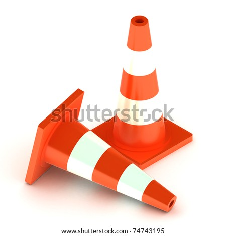 A Colourful 3d Rendered Traffic Cone Illustration