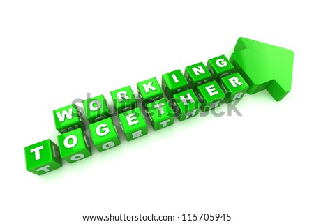 A Colourful 3d Rendered Working Together Concept Illustration - stock photo