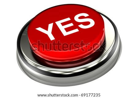 A Colourful 3d Rendered 'Yes'Push Button Illustration