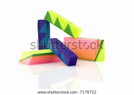 A colourful erasers isolated on a white background