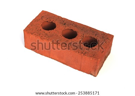 A Colourful Photograph of a Building House Brick Isolated on white - stock photo