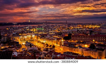 A colourful sunset in Lisbon - stock photo