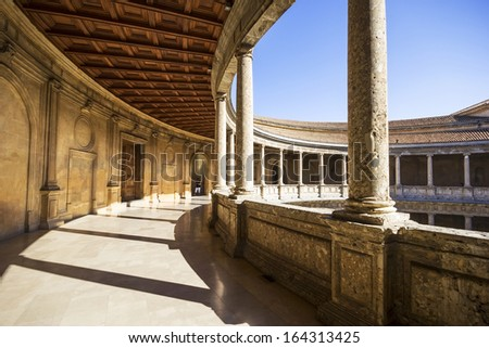 A columned courtyard at the Palace of Charles V (Palacio de Carlos V), site of the Museum of the Alhambra in Granada, Spain.