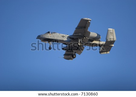 A-10 combat jet flying during airshow