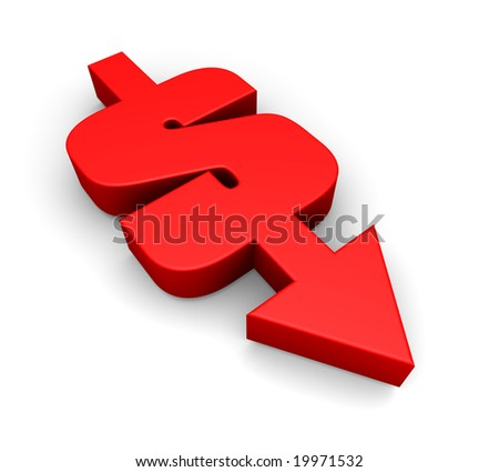 a combination of a dollar sign and an arrow pointing downwards - stock photo