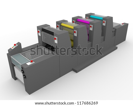 A commercial printing press with four modules, one for each color. Magenta, cyan, yellow and black. - stock photo