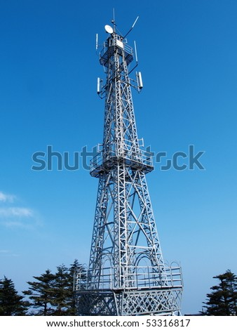 A Communication Tower in The Top of Mount Emei, China