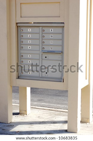 a community mail box modern, outdoor