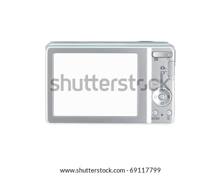 A compact camera isolated against a white background - stock photo