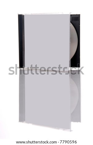 a compact disc in the box, isolated on white background with reflection