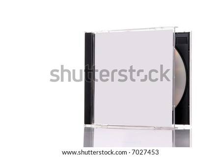a compact disc in the box, isolated on white background with reflection. Almost closed box - stock photo