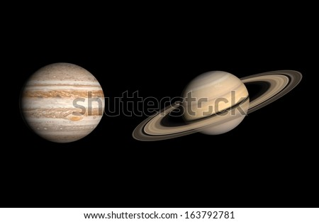 A comparison between the Gas Planets Jupiter and Saturn on a clean black background.