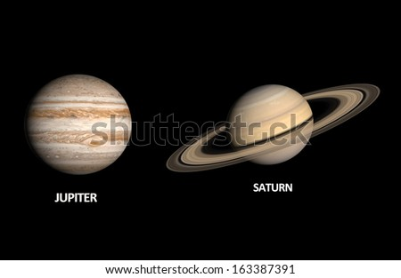 A comparison between the Gas Planets Jupiter and Saturn on a clean black background with english captions.