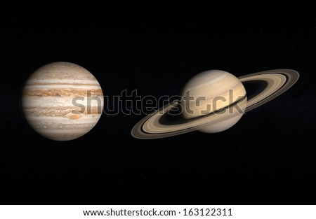 A comparison between the Gas Planets Jupiter and Saturn on a starry background.