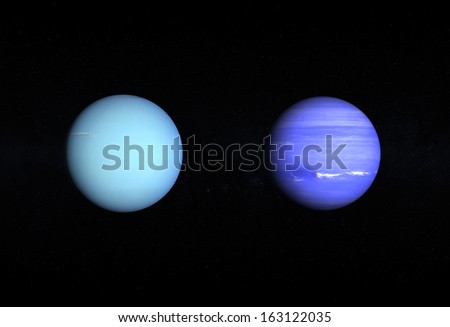 A comparison between the Gas Planets Uranus and Neptune on a starry background. - stock photo