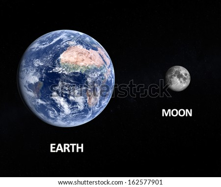 A comparison between the planet Earth and the Moon on a starry background with english captions. - stock photo