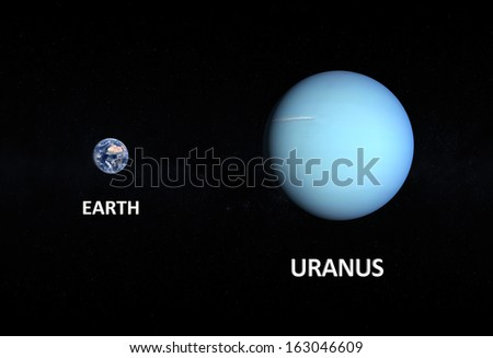 A comparison between the planets Earth and Uranus on a starry background with english captions. - stock photo