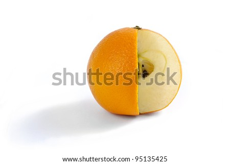 A comparison of oranges and apples when the fruit has a bit of both. Photo Manipulation showing an orange on white with a wedge cut out and the flesh of an apple inside. - stock photo
