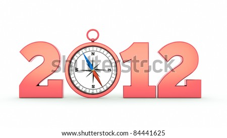 a compass as a part of concept, choose you direction on 2012 year - stock photo