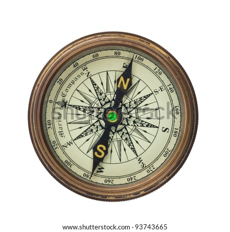 a compass is set on a white background.