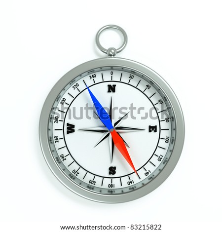 a compass isolated on white - stock photo
