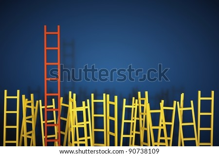 a competition concept, ladders on blue - stock photo