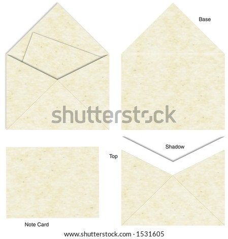 A complete envelope and letter insert provided in pieces, isolated and labeled for easy assembly ADD YOUR OWN MESSAGE! - stock photo