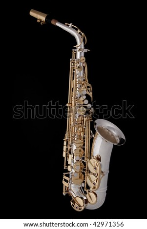 A complete professional silver and gold alt saxophone isolated on a black background. - stock photo