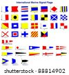 A complete set of international naval signal flags / International marine signal flags - stock photo