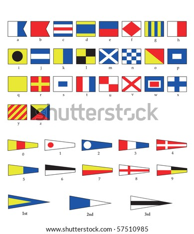 A complete set of Nautical flags for letters and numbers, including ordinal numbers. - stock photo