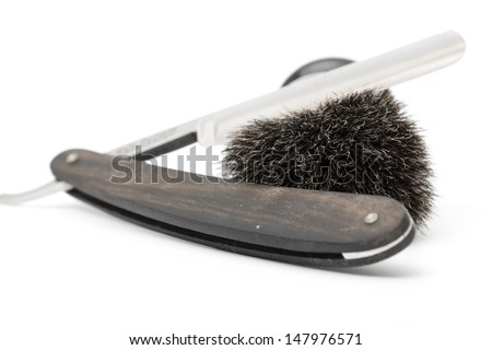 a complete shaving-set: razor, shaving brush and a bowl for shaving foam  - stock photo