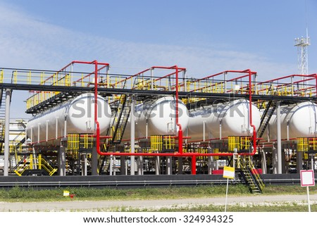 A complex oil refinery reservoirs for keeping - stock photo