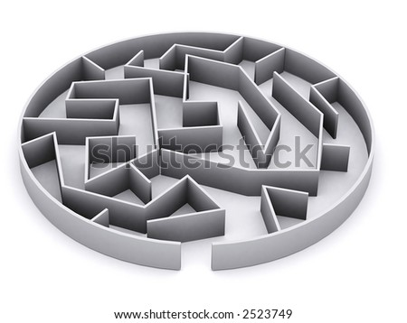 a complicated 3d maze rendered in 3d