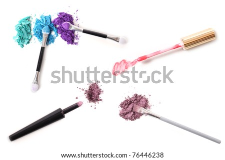 A composite assortment of cosmetics with their applicators. A pure white background makes these easy to use together or individually.