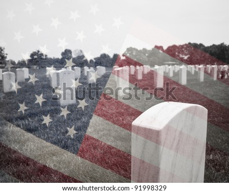 A composite image of Arlington Cemetery with the American Flag - stock photo