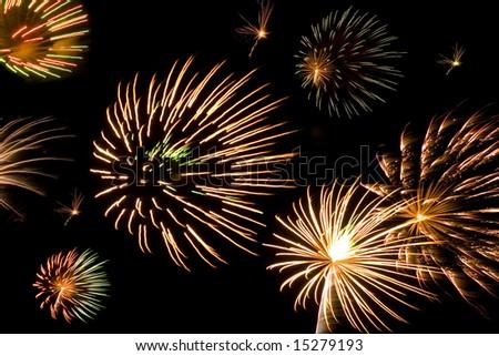A composite of interesting bursting fireworks. - stock photo
