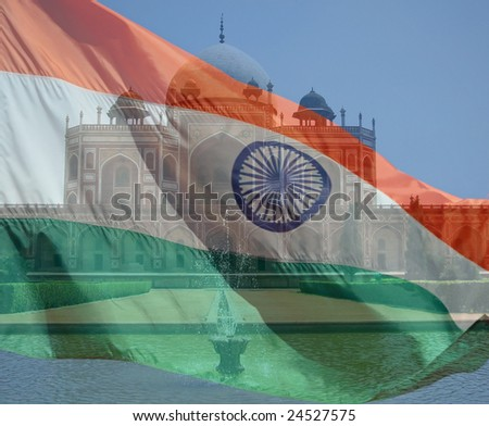 A composite of two photos taken by the author. Humayun's Tomb in New Delhi India and the flag of India. - stock photo