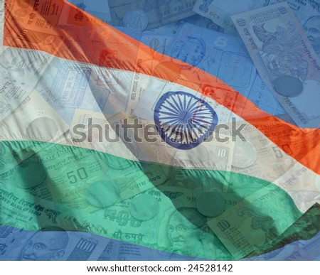A composite of two photos taken by the author. India flag with money and passports. - stock photo