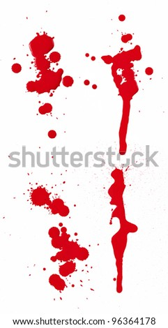 A composite of 4 wet red paint (blood) stains isolated on white.