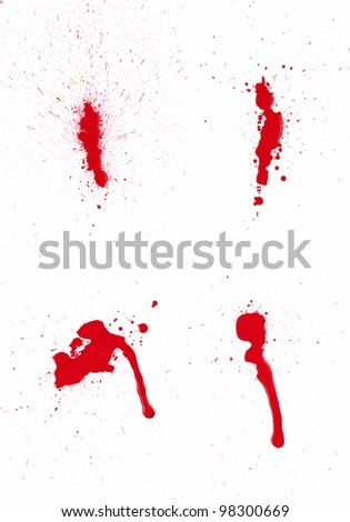 A composite of 4 wet red paint (blood) stains isolated on white. - stock photo