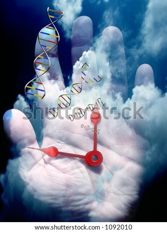 A composition combining elements of time, humanity and genetics - stock photo