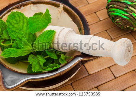 A composition of a mortar, pestle and peppermint