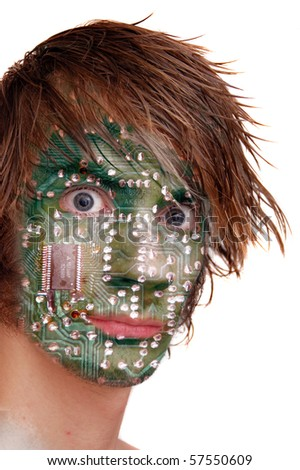 A computer chip design embedded on a young man's head.