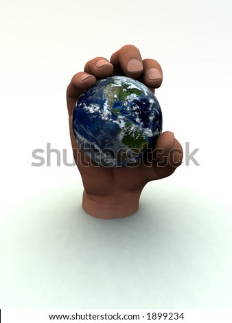A computer created image of earth being grabbed by a power gripping hand.